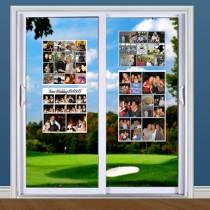 Photo collage arrangement decorating glass doors.