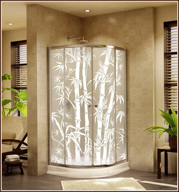 Add privacy to shower enclosures with Big Bamboo privacy window film.