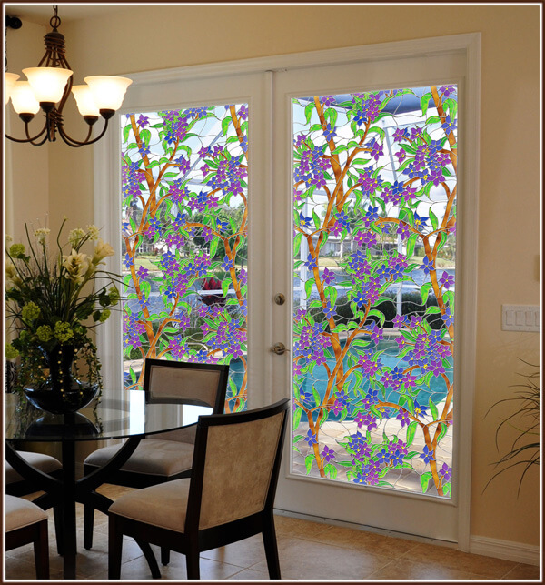 Biscayne Stained Glass Window Film Wallpaper For Windows