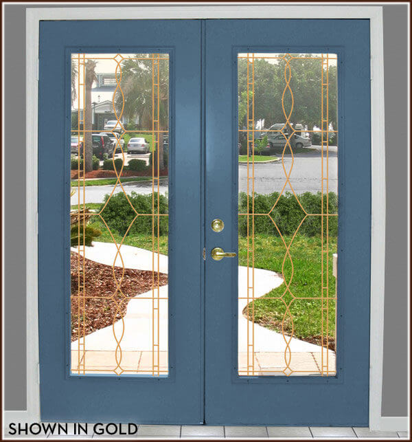 Allure clear with gold lead lines on French front door
