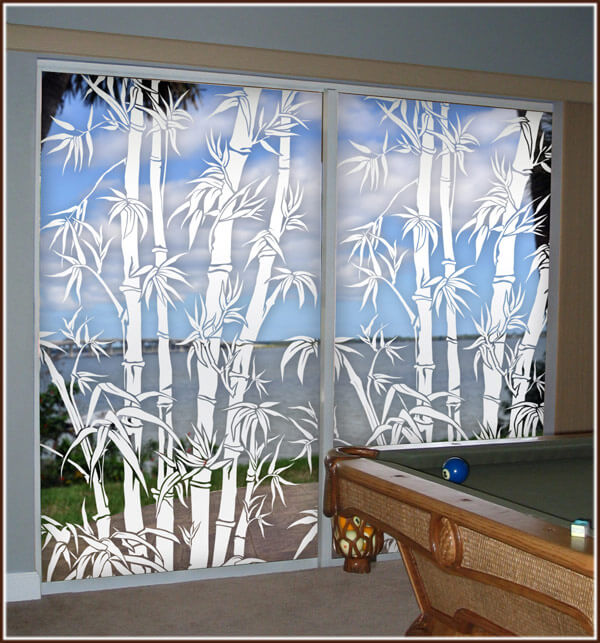 Big Bamboo Etched Glass Window Film Decor Wallpaper For