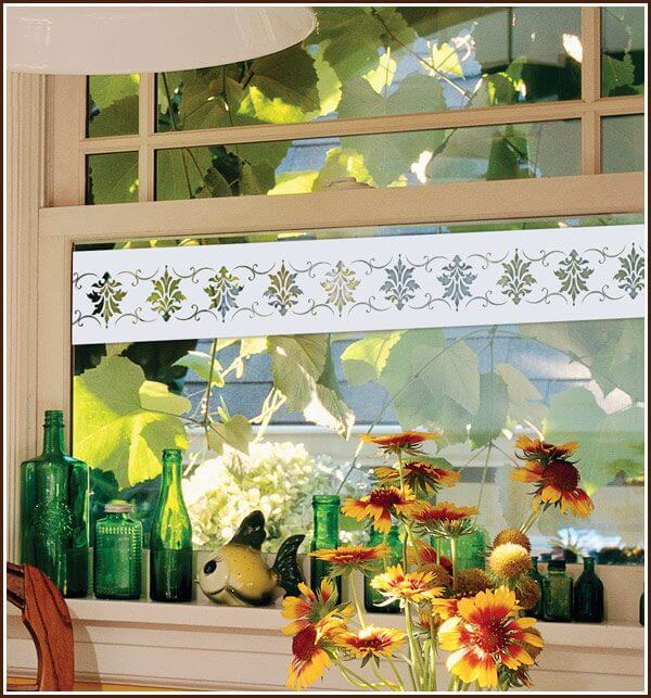 Etched glass border on kithen window