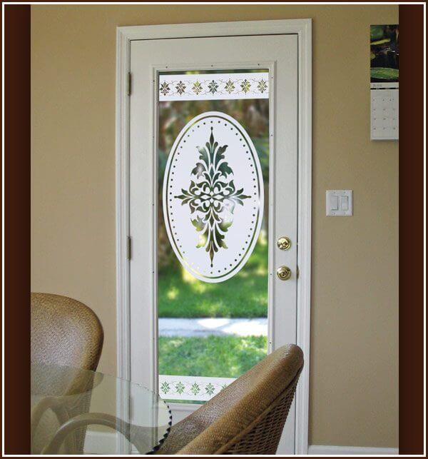 Doral Oval on glass door with Doral Border