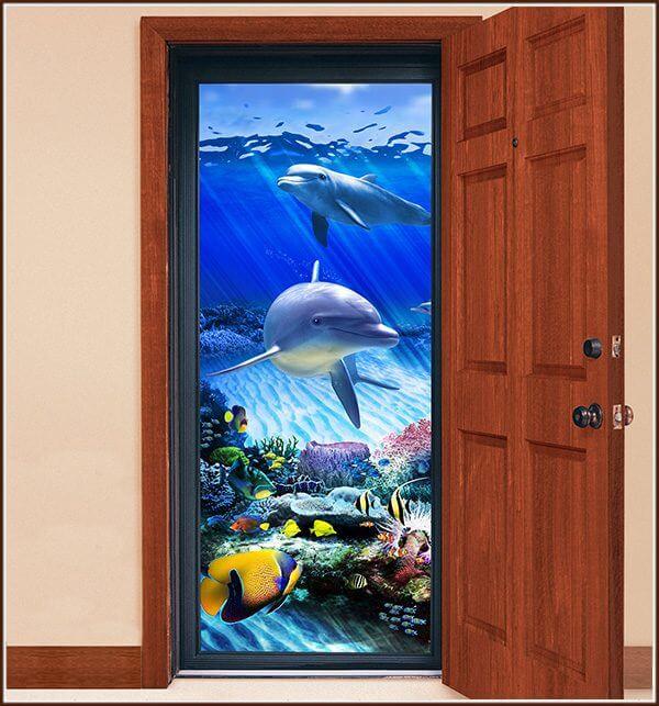 Storm door with Dolphin Reef