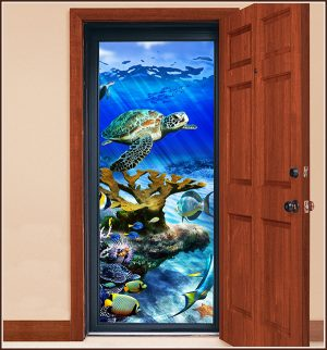 Storm door with Sea Turtle Reef Stained Glass