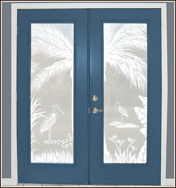 Decoratively add privacy to french doors with the Heron Hideaway privacy window film.