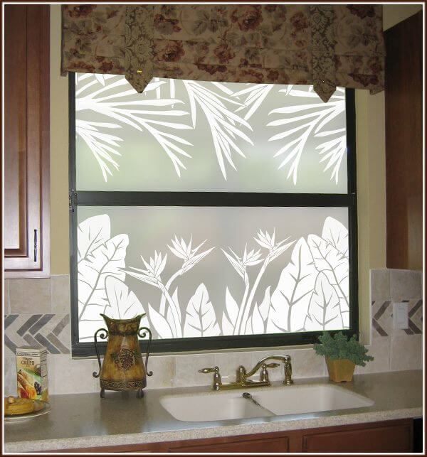 Kitchen window with Tropical Oasis Privacy borders top and bottom
