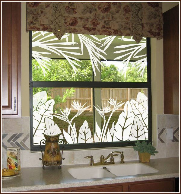 Tropical Oasis borders on kitchen window