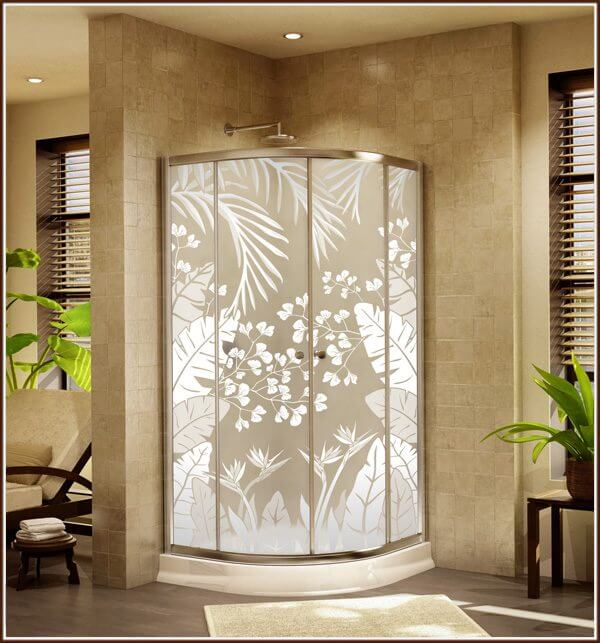Shower panels with Tropical Oasis Privacy