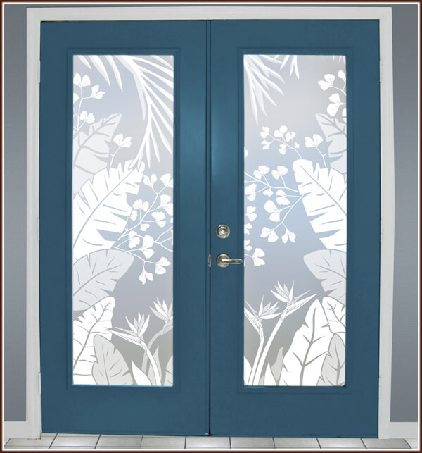 Tropical Oasis Etched Glass Privacy Film Wallpaper For
