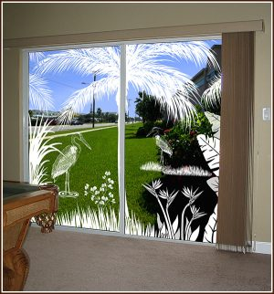 Sliding glass doors decorated with the Heron Hideaway 2-door scene.