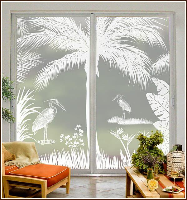 Add privacy to large sliding glass doors with the Heron Hideaway window film scene.