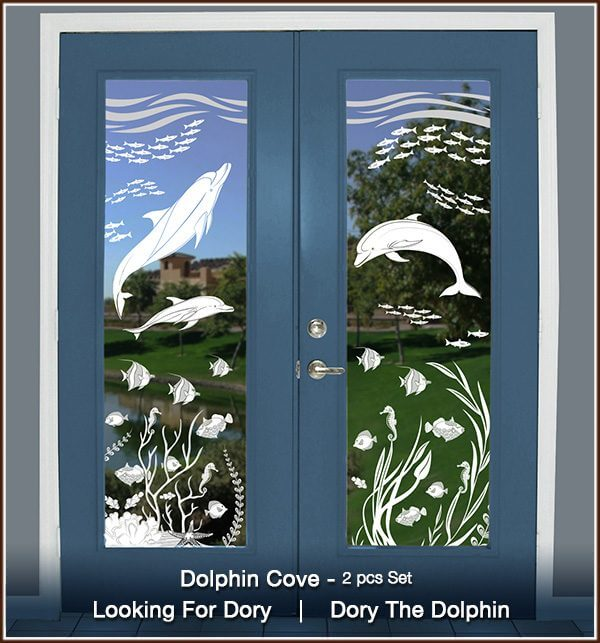Two French doors with Dolphin Cove Clear set