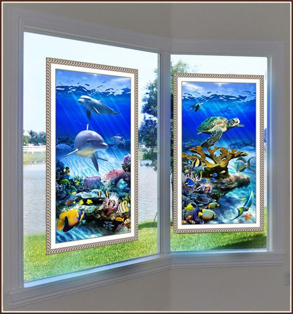 Dolphin Reef and Turtle Reef on side by side windows