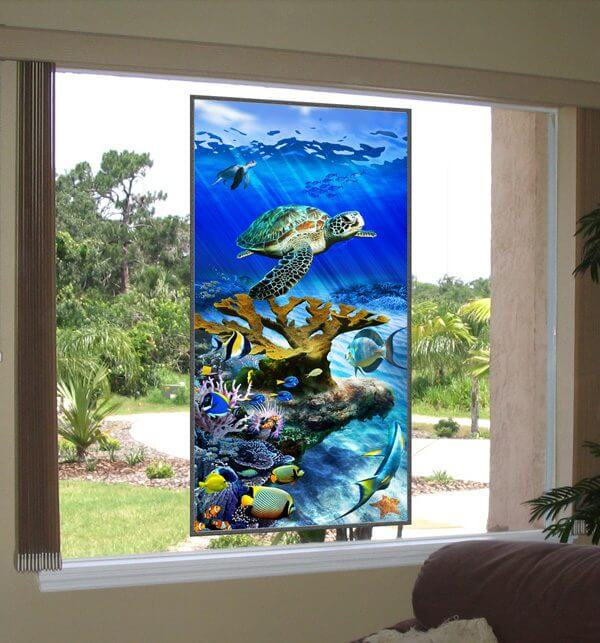 Picture window with Sea Turtle Reef Stained Glass