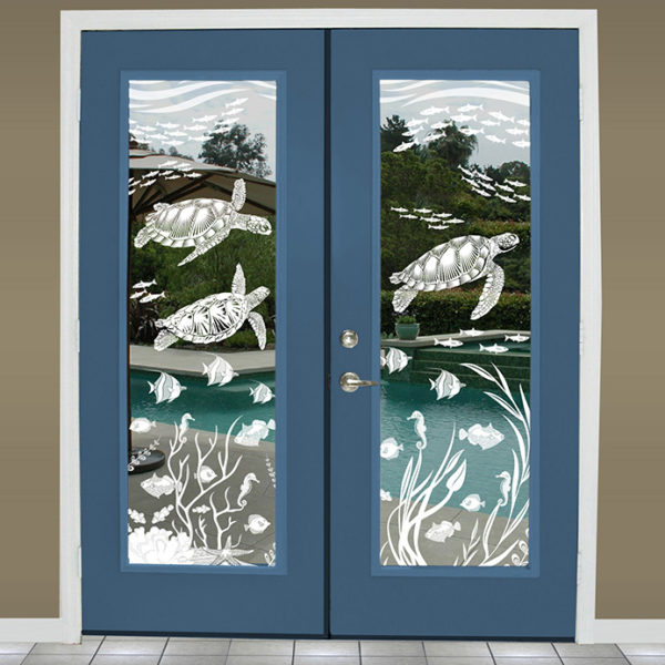 French doors decorated with Sea Turtle Cove etched glass window film.