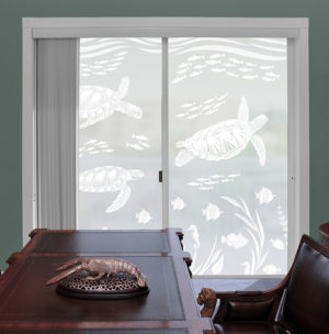 Sea turtles decorating sliding patio doors.