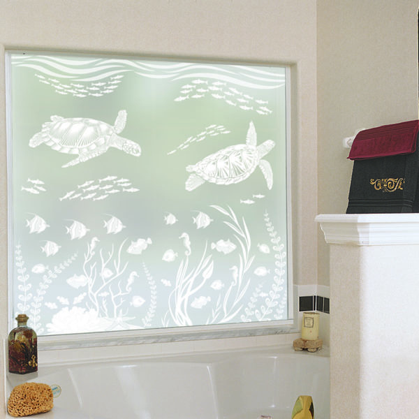 A tub window decorated with Sea Turtle Cove etched glass privacy window film.
