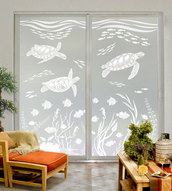 Sliding glass doors decorated with Sea Turtle Cove etched glass scene featuring sea turtles, reef fish and more.